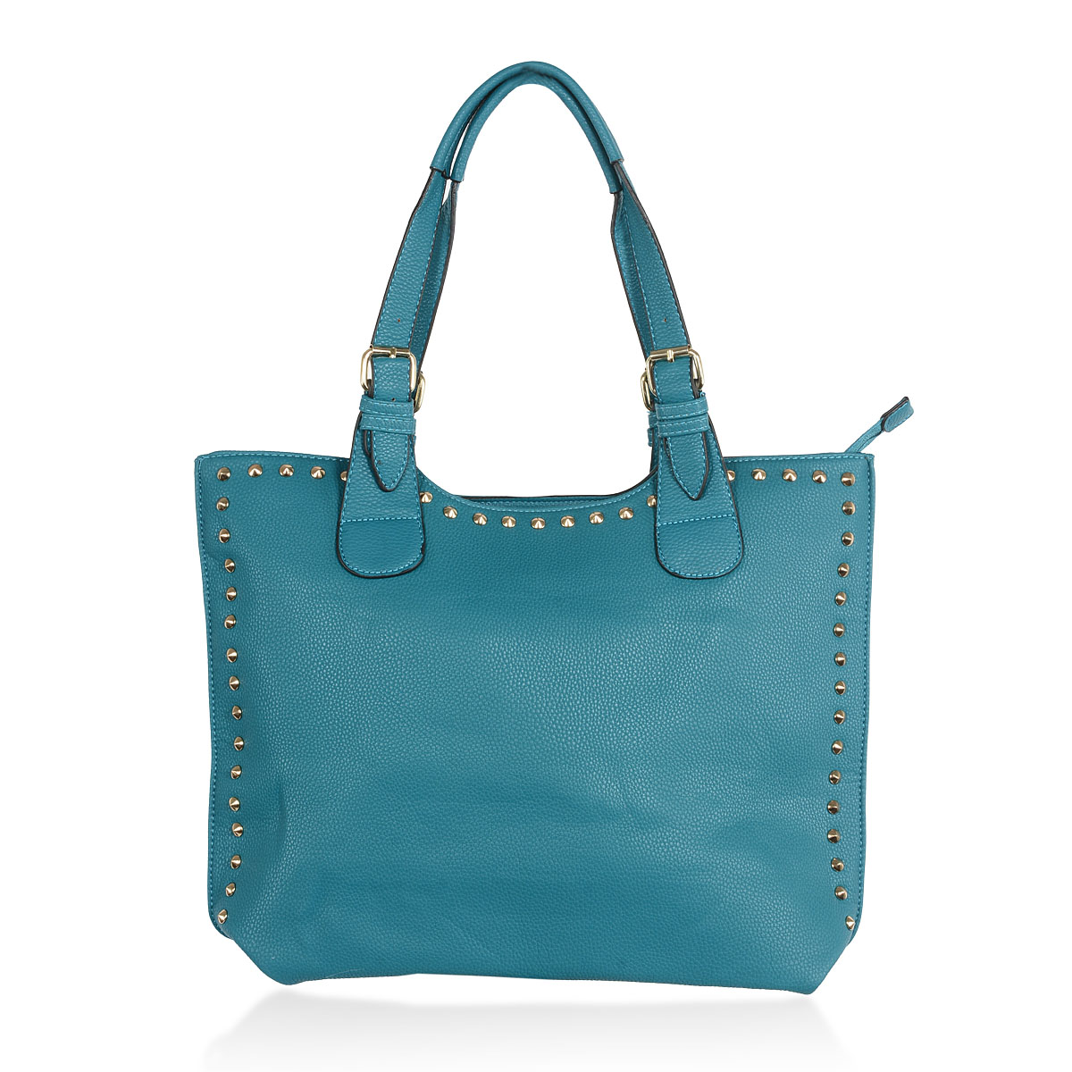 teal vegan leather studded tote bag 13x13x4 in tote