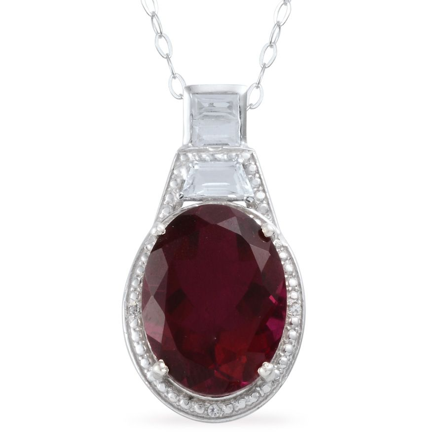 c41ccfe89310c Cranberry Quartz, White Topaz Platinum Over Sterling Silver Pendant With  Chain (20 in) TGW 10.030 cts.