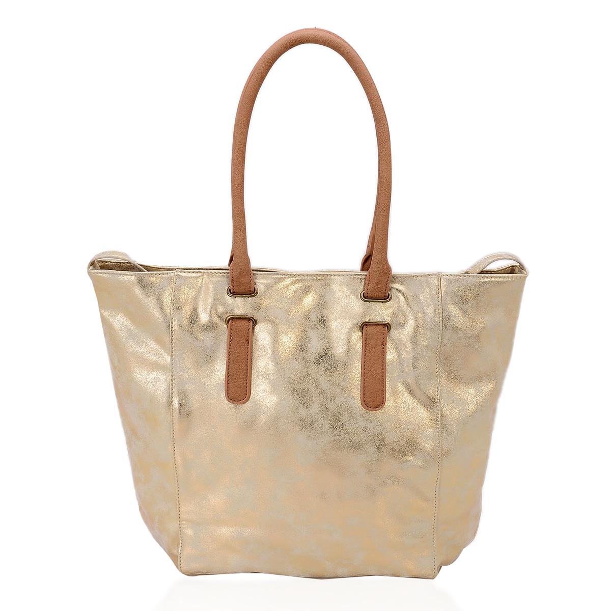 Golden Faux Leather Shoulder Bag (14x5.5x11 in)