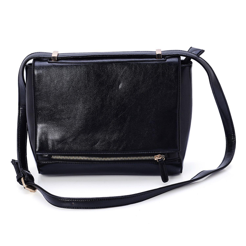 f19820fb3066 Black Faux Leather Crossbody Bag (10x4x8 in)