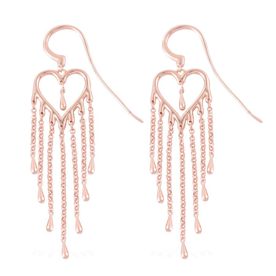 Lucy Q Melting Heart Collection 14K RG Over Sterling Silver Earrings