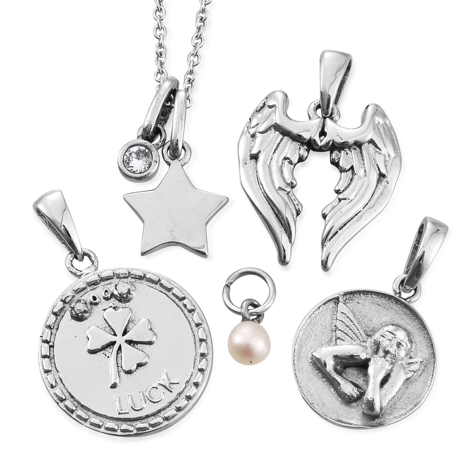 4d248a93b18 Set of 6 Simulated Pearl, Diamond Stainless Steel Pendants With Chain (20  in) Made with SWAROVSKI White Crystal TGW 0.12 cts.