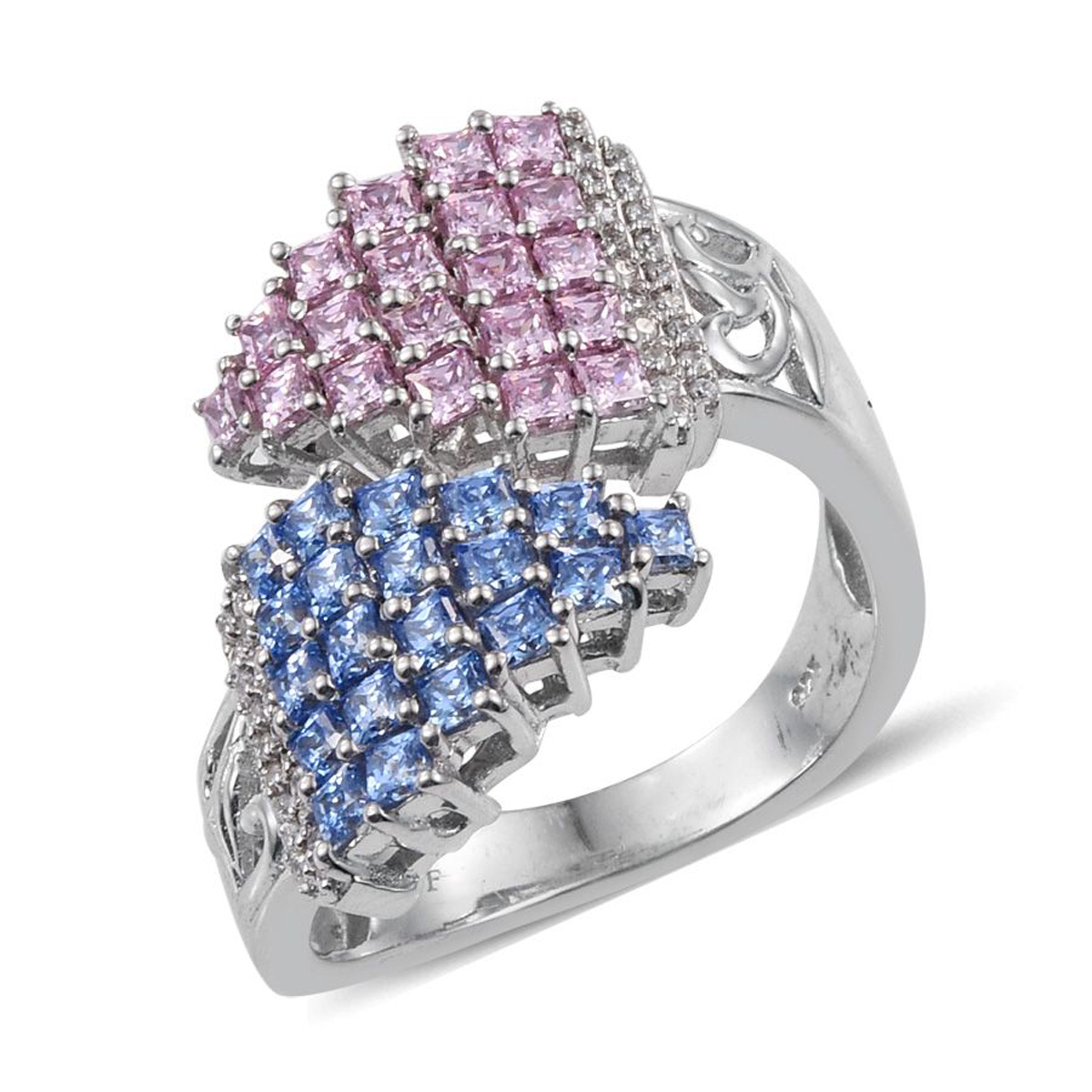 J francis platinum over sterling silver bypass ring made for Swarovski jewelry online store