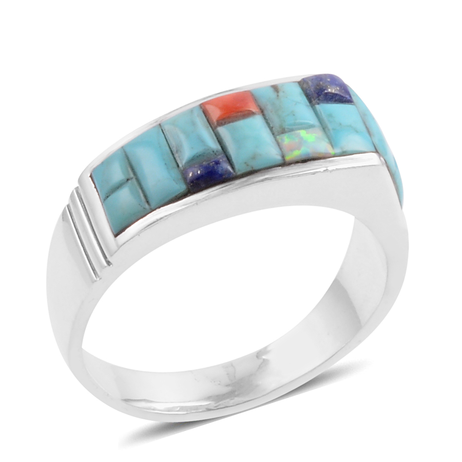 santa fe style multi gemstone sterling silver s ring