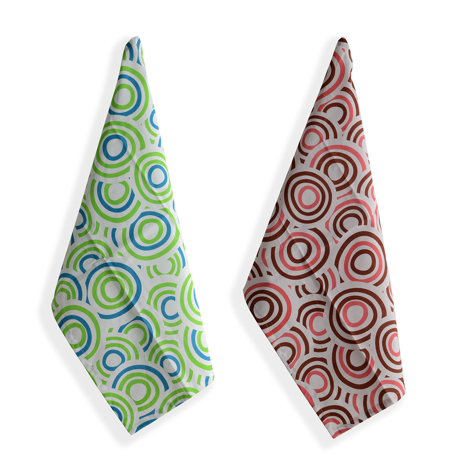 Set Of 6 Multi Color 100% Cotton Circle And Fern Pattern