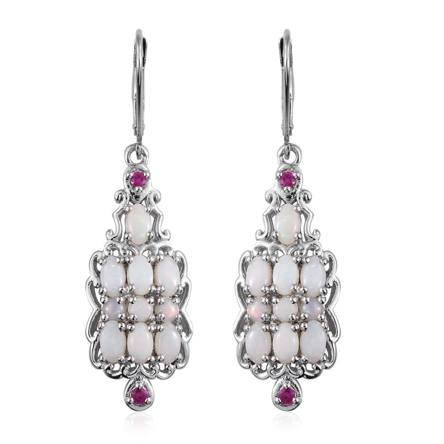 Australian White Opal Ruby Platinum Over Sterling Silver Lever Back Earrings Tgw 2 580 Cts