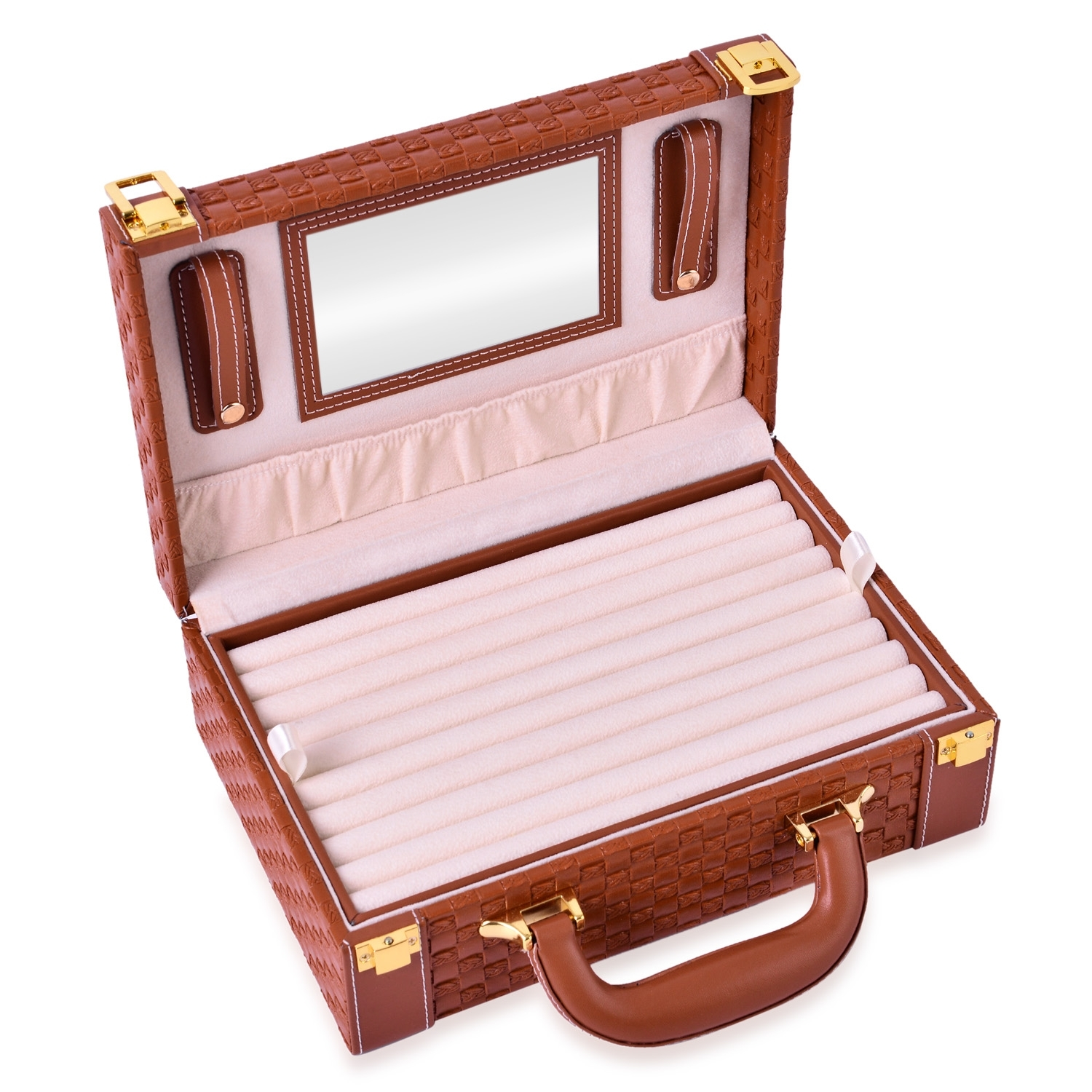 2 tier camel woven faux leather briefcase style jewelry for Big box jewelry stores