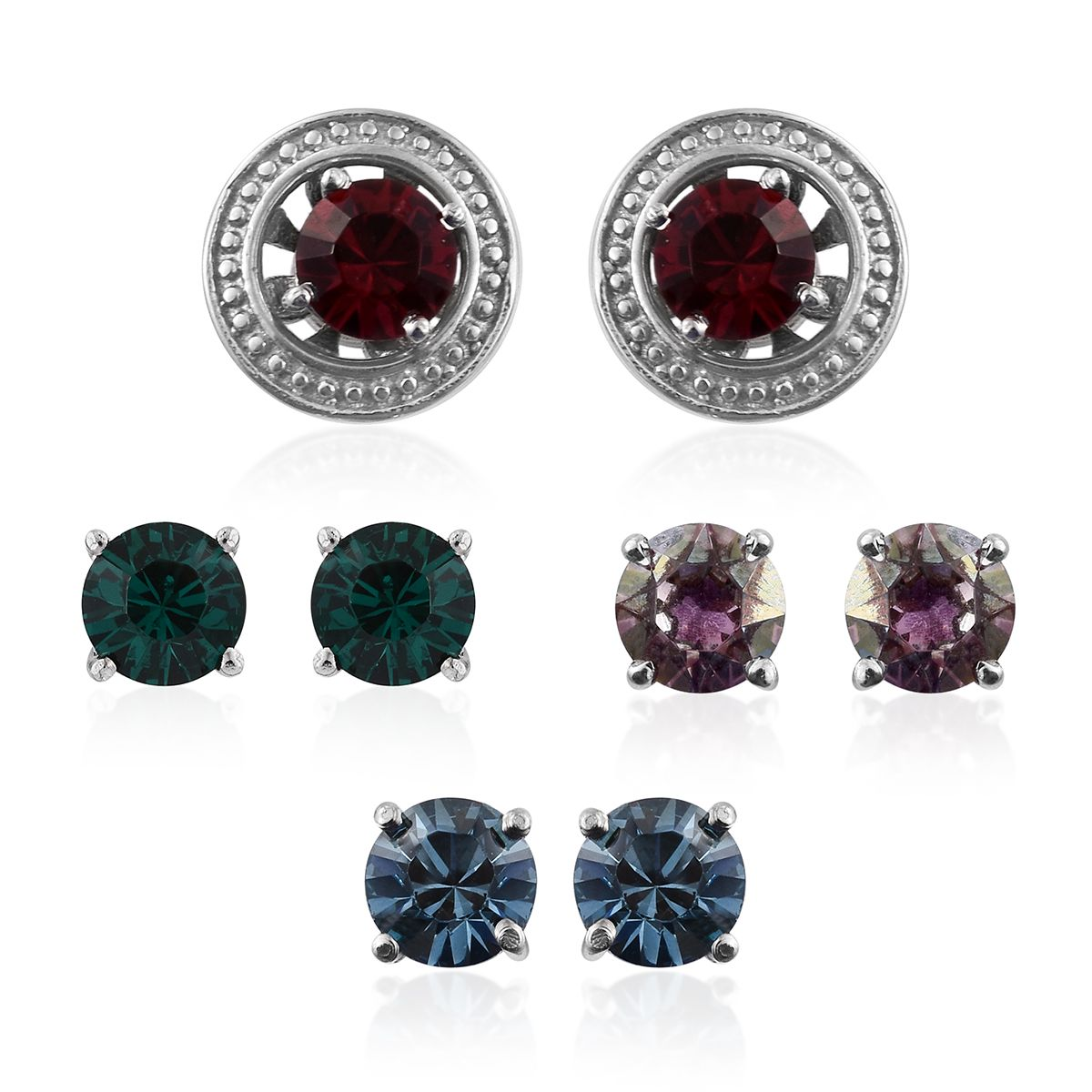 Stainless steel interchangable earrings made with multi for Swarovski jewelry online store