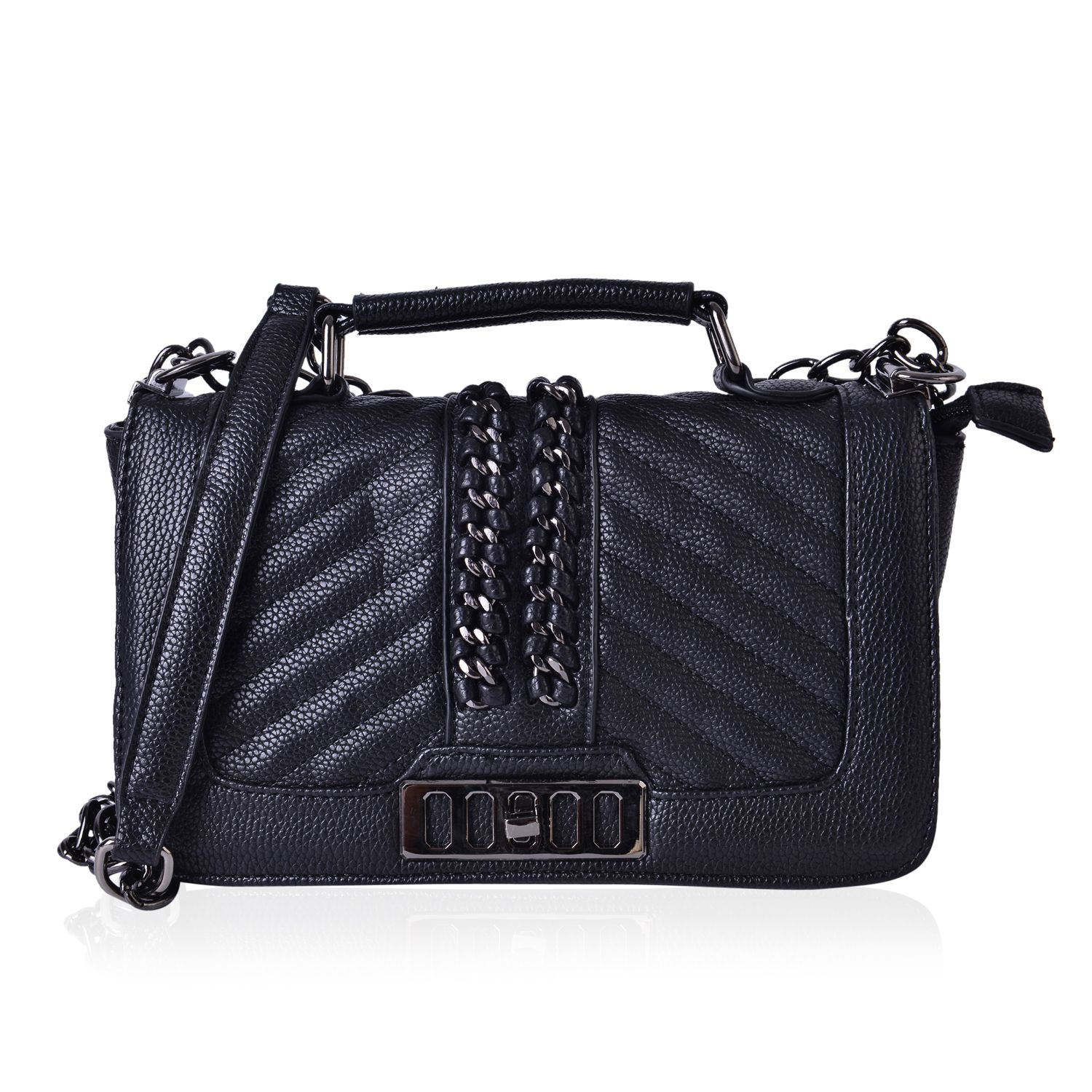 fe040c5542 Black Quilted Faux Leather Flap Over Crossbody Bag with Chain Strap  (9.5x3x6 in)
