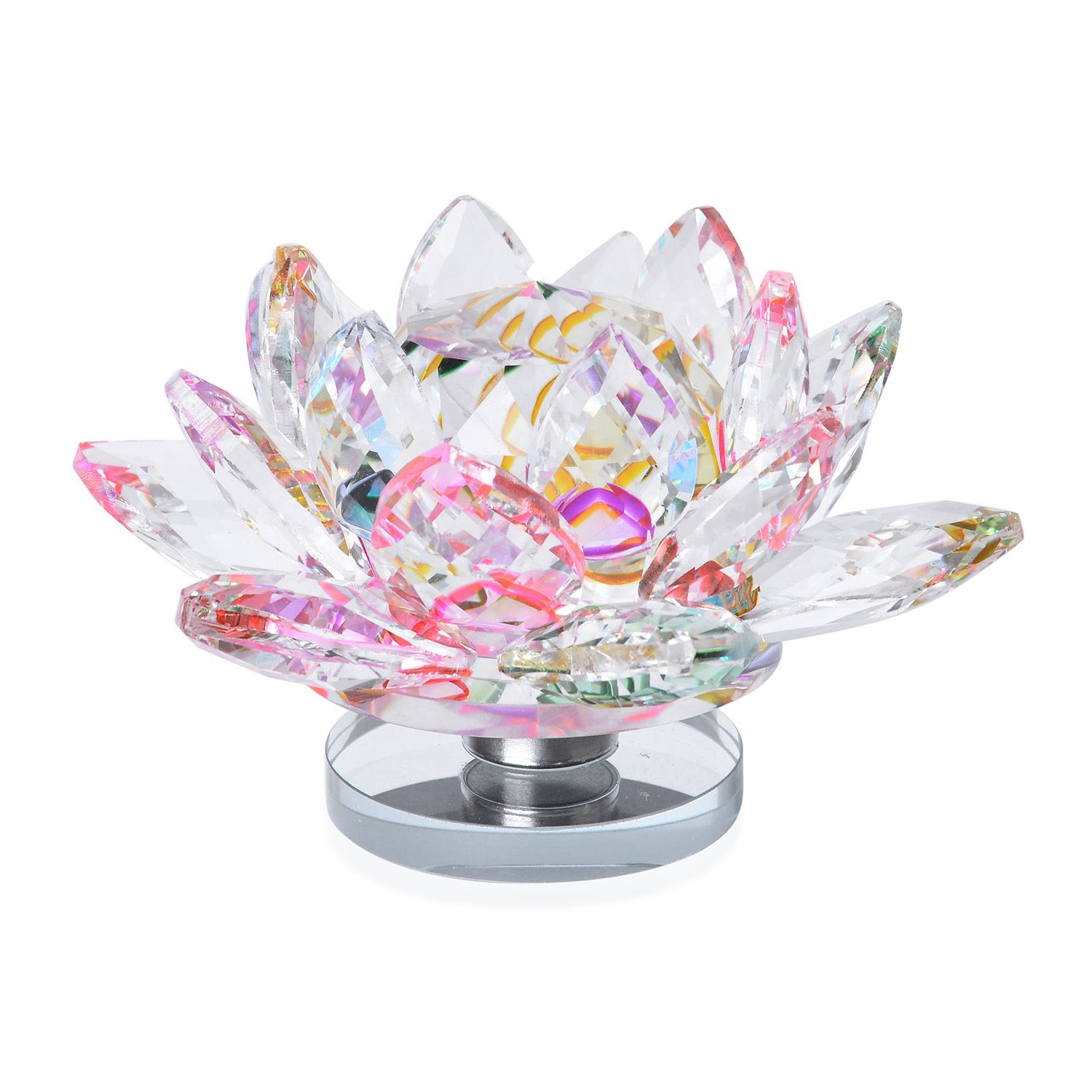 Multi Color Glass Rotatable Crystal Lotus Flower 5x2 In Crystal
