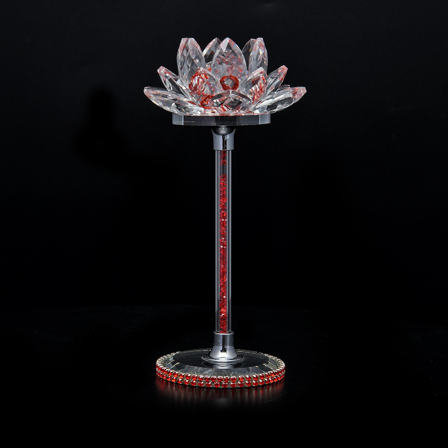 Red glass crystal lotus flower decor crystal decor Crystal home decor