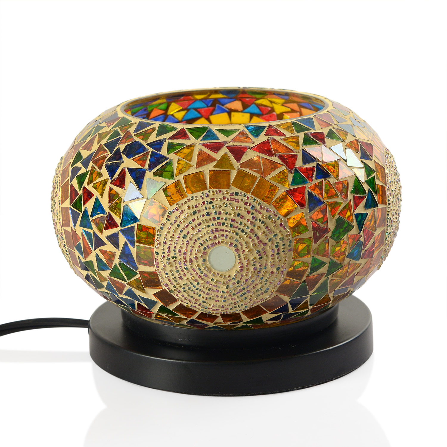 Handcrafted Multi Color Sun Design Mosaic Electric Lamp with Himalayan Salt (6 in) table-decor ...