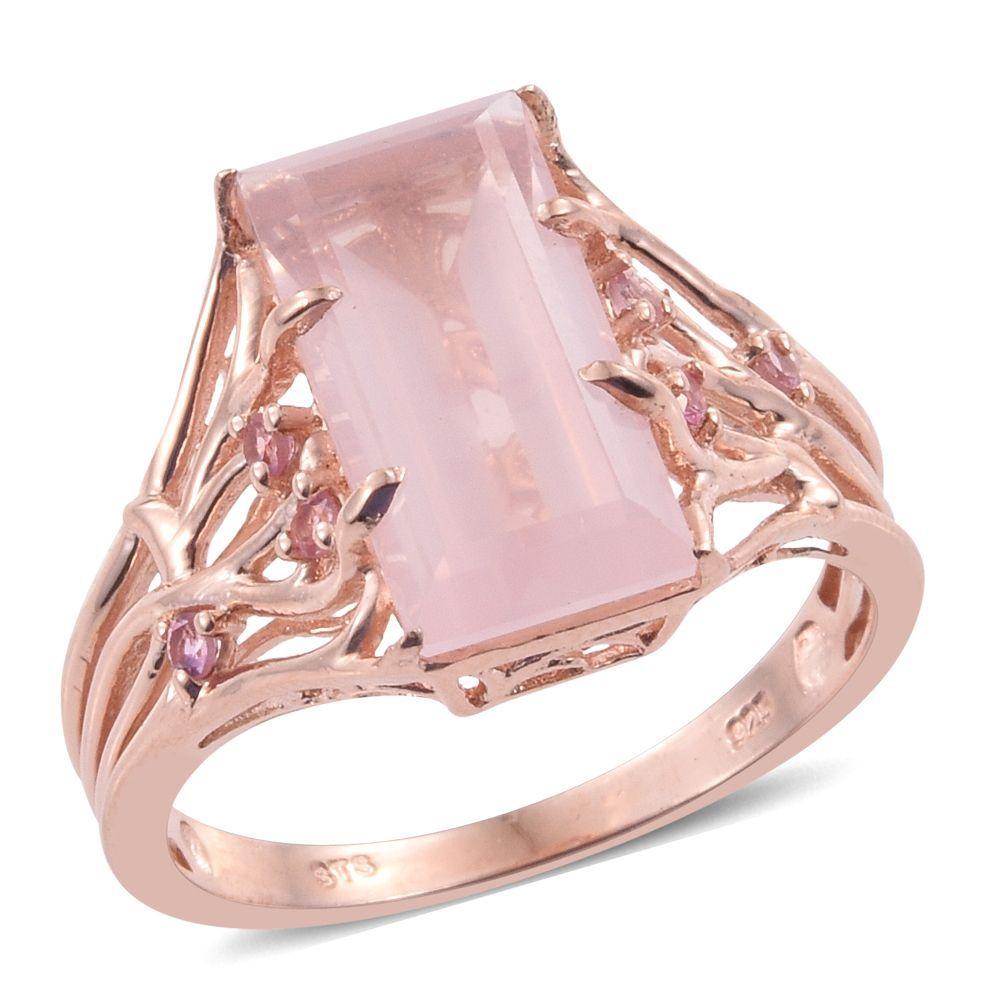 Galilea Rose Quartz, Pink Tourmaline 14K RG Over Sterling Silver ...