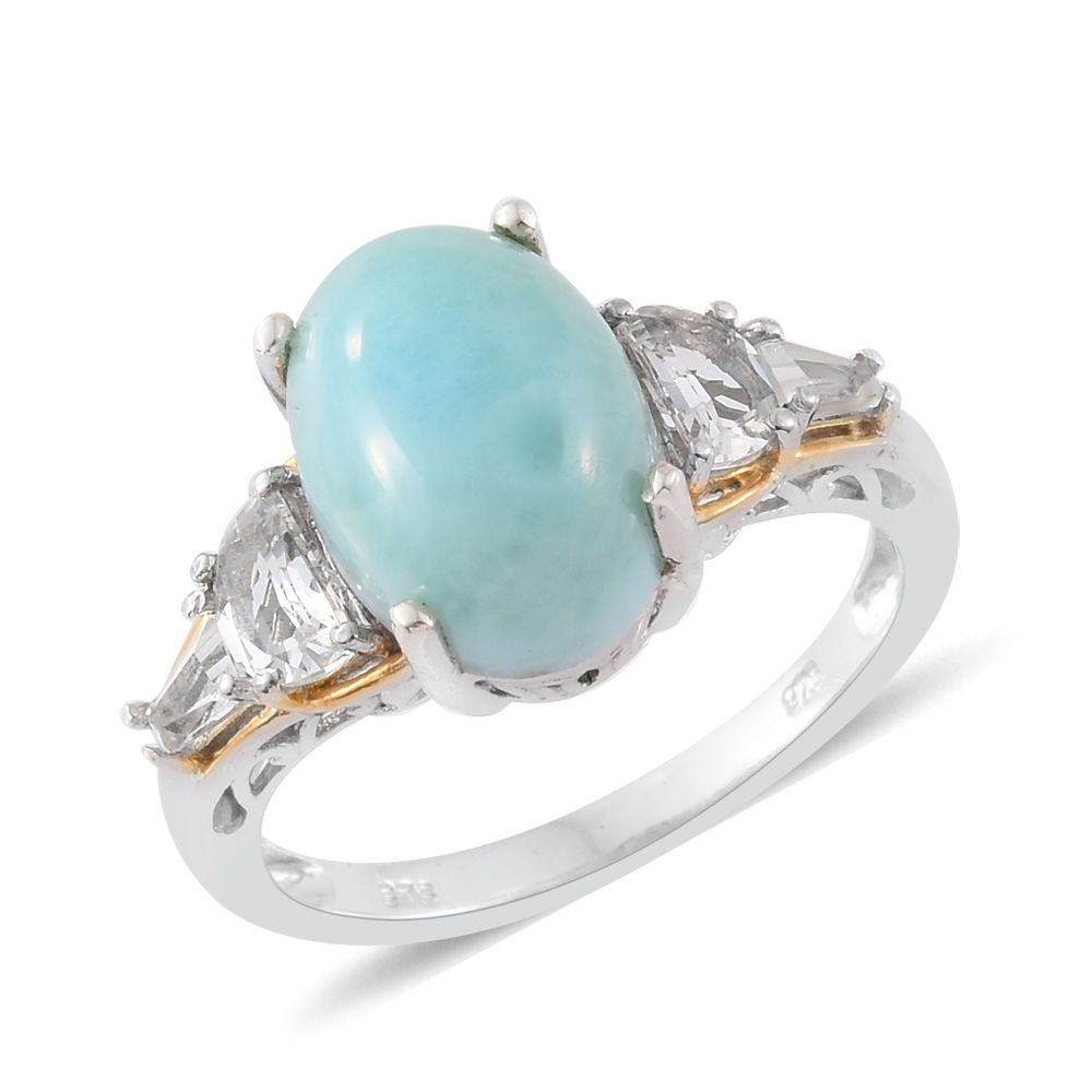 d23a5a484 Sea Mist Larimar, White Topaz 14K YG and Platinum Over Sterling Silver Ring  (Size 9.0) TGW 8.33 cts. | Shop LC