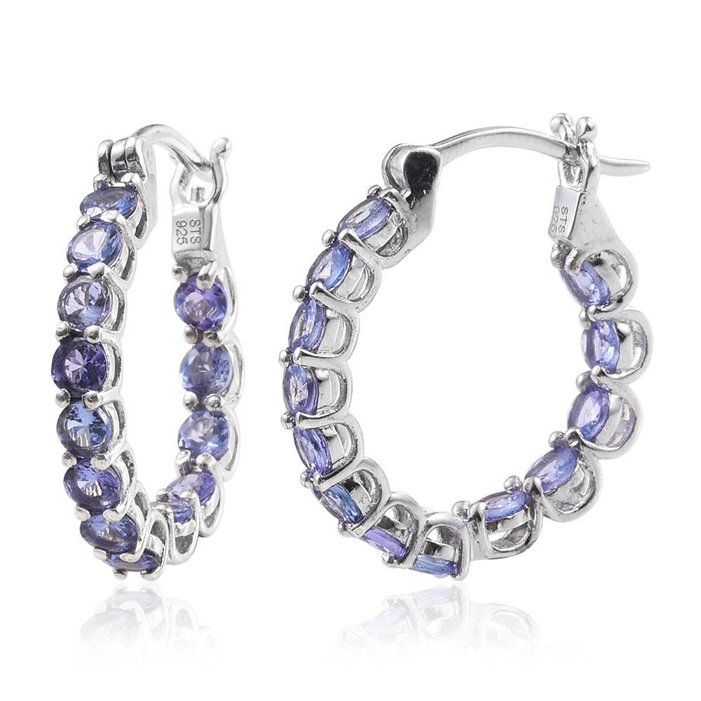 tanzanite platinum sterling silver inside out hoop