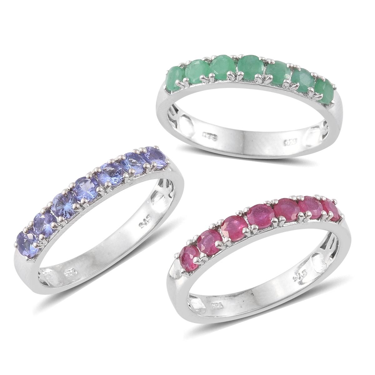 Niassa Ruby, Kagem Zambian Emerald, Tanzanite Platinum Stackable ...