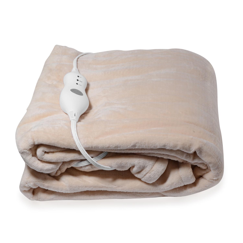 Beige Electric Heated Micro Plush Flannel Sherpa Throw