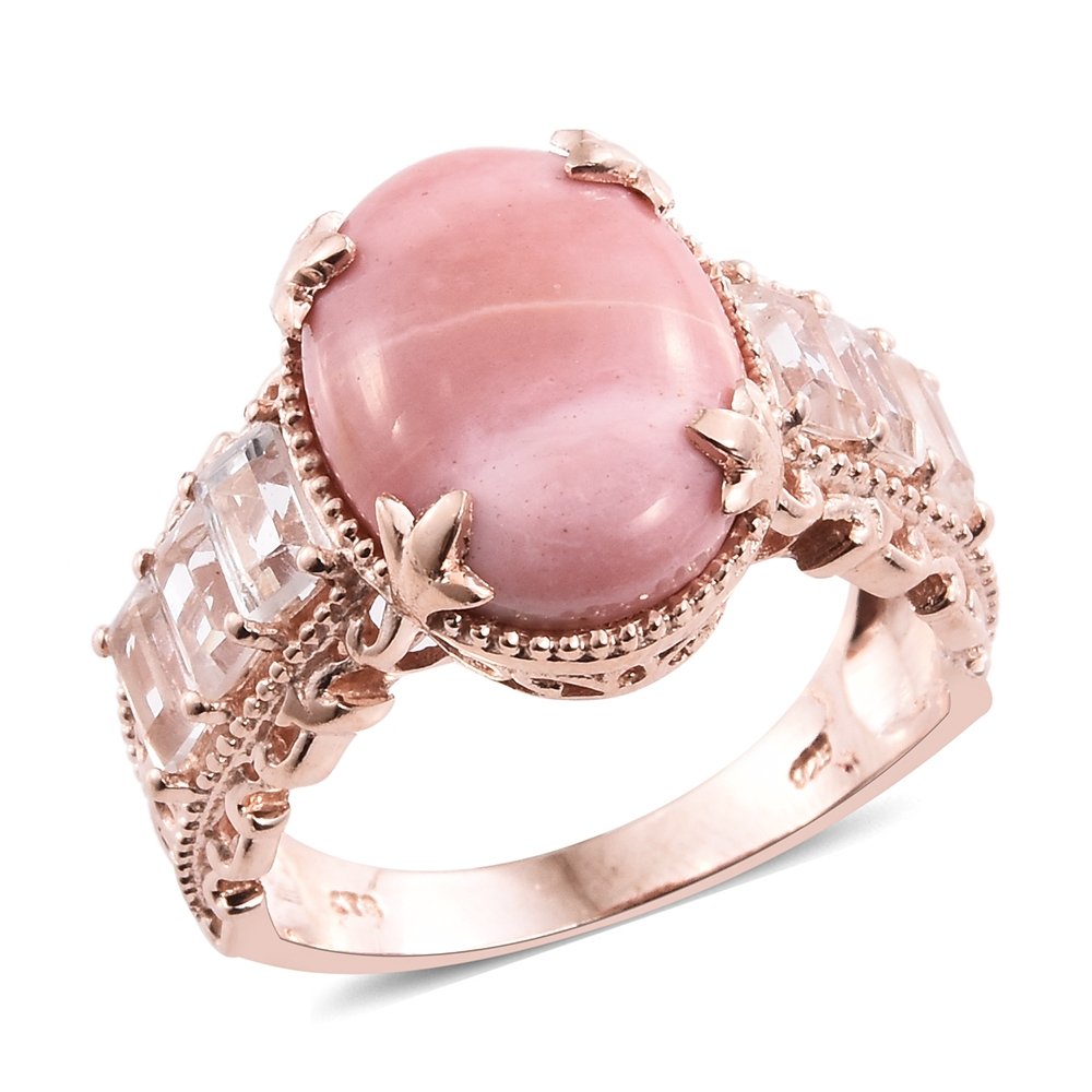 Australian Pink Opal, White Topaz 14K RG Over Sterling Silver Ring ...