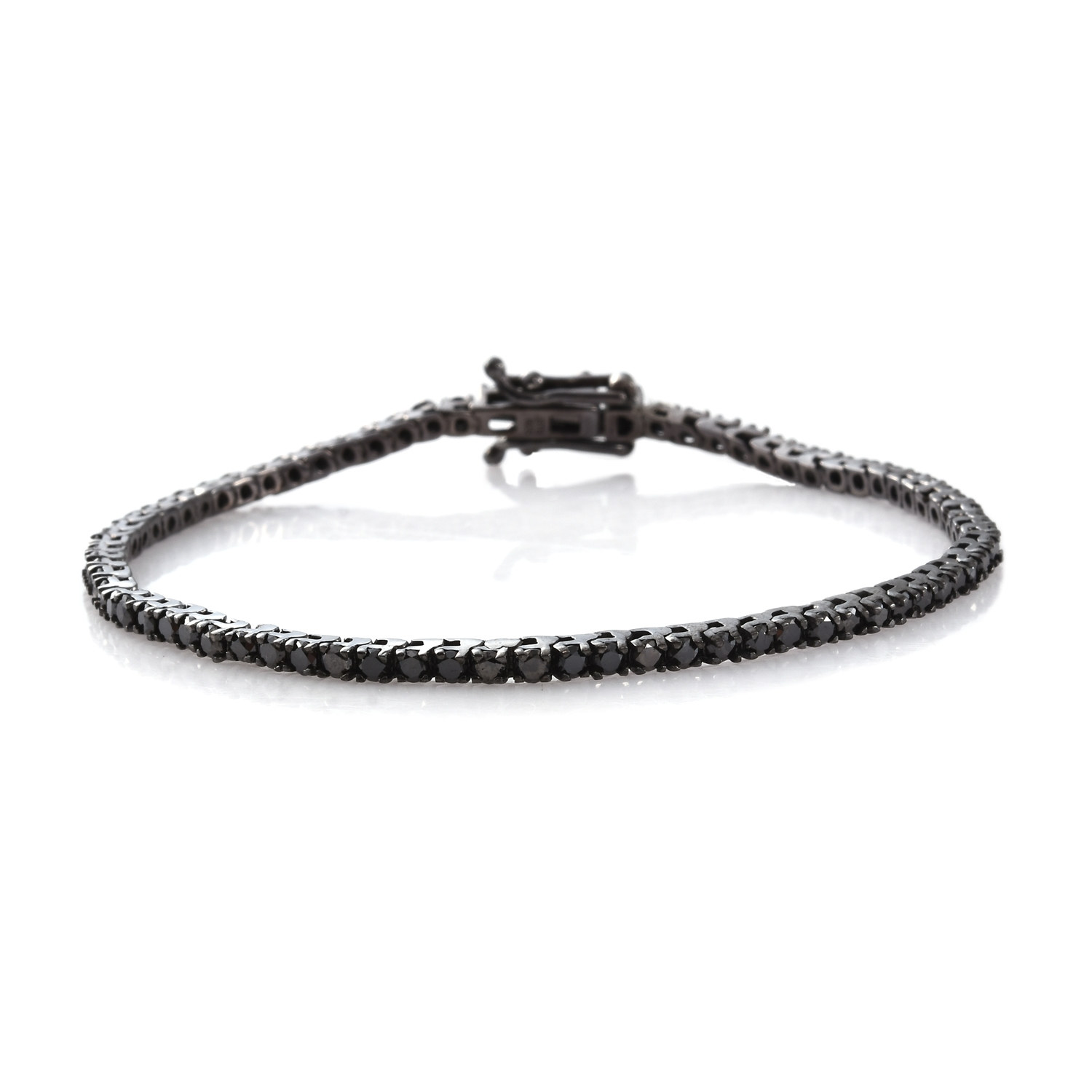 ir box with open diamond itm black bracelet rhodium silver clasp tennis