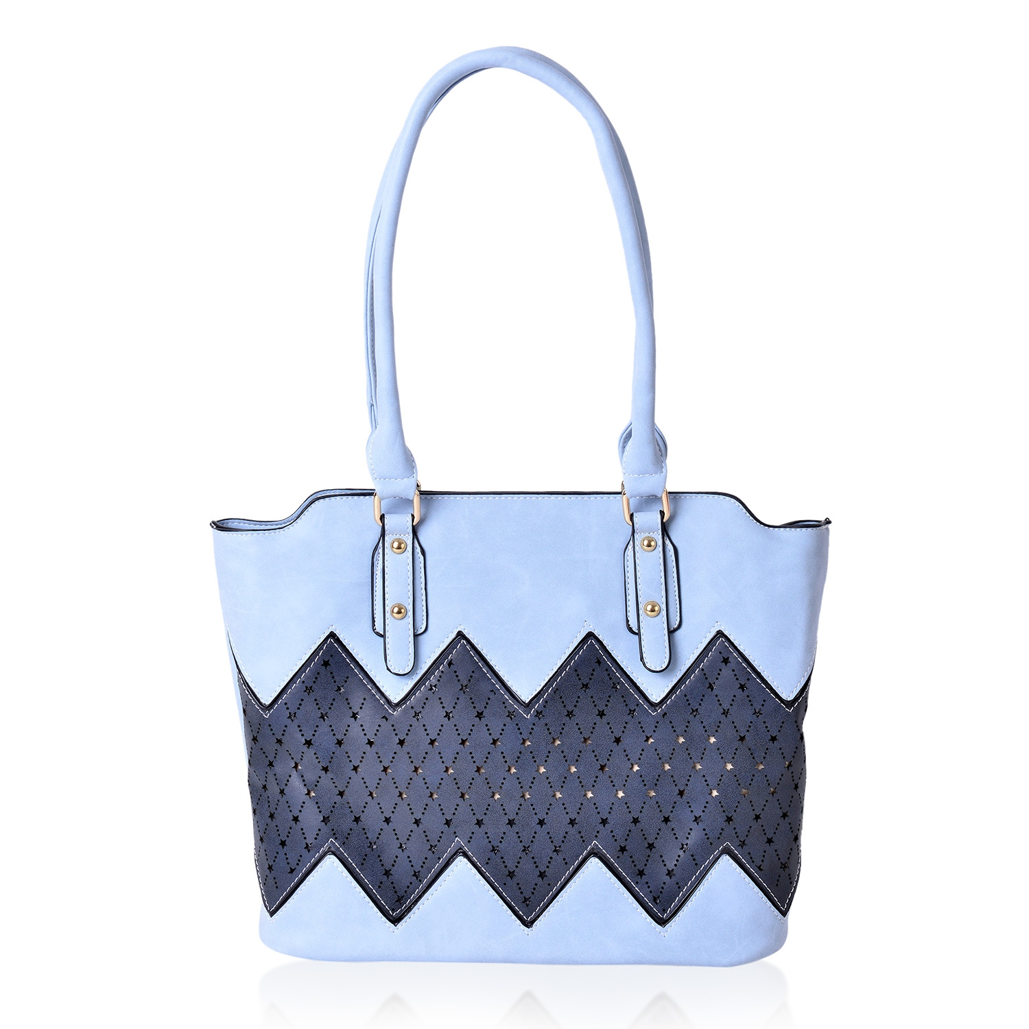 Baby Blue and Navy Faux Leather Laser Cut Stars Zig Zag Patch Tote Bag  (13x6x10 928634809b97d