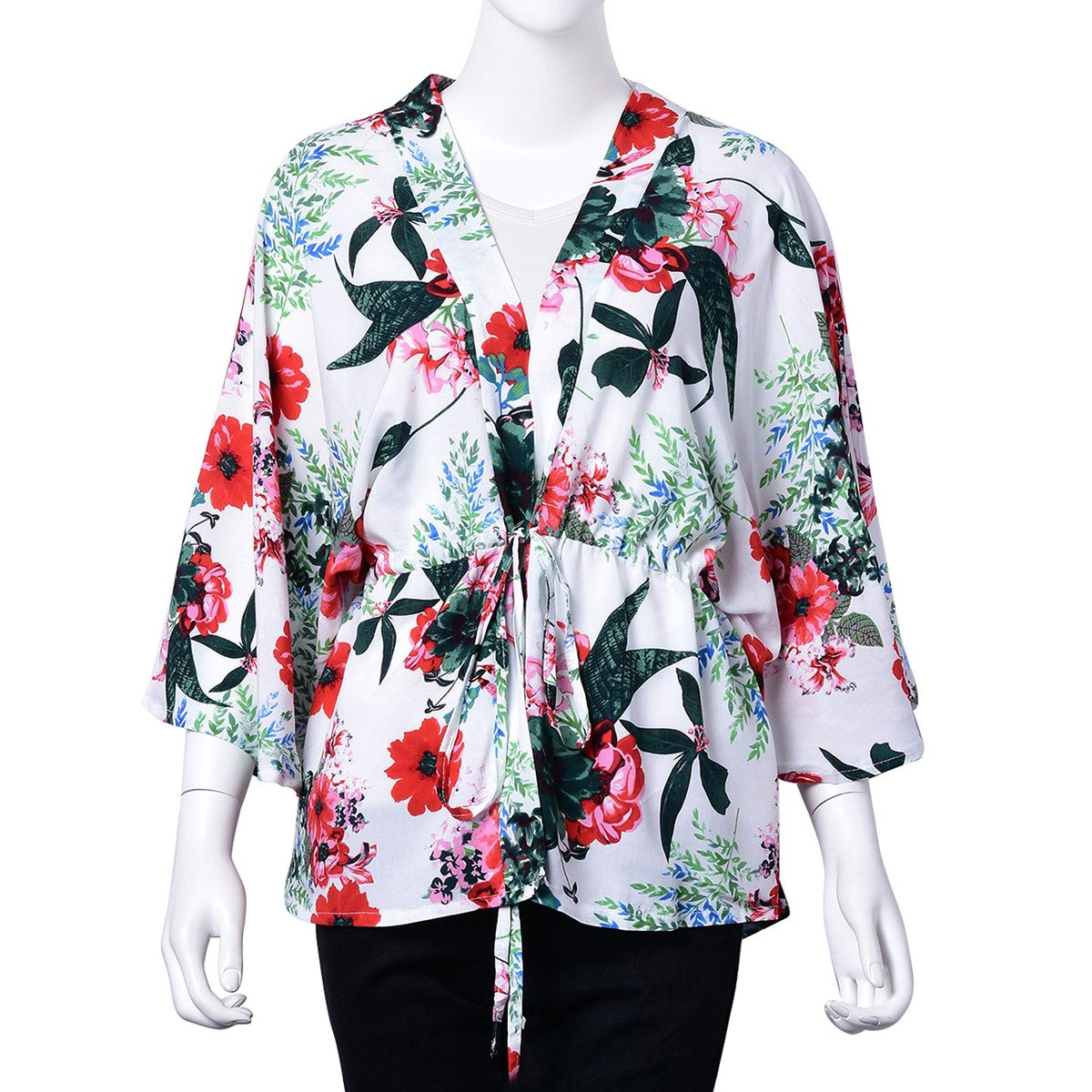 2180a21542 White 100% Viscose Multi Color Floral Open Cardigan with Belted Wrap (One  Size) ...