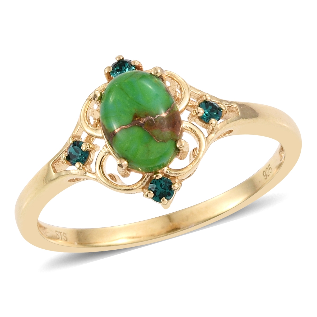 50554d0bb Mojave Green Turquoise 14K YG Over Sterling Silver Ring (Size 7.0) Made  with SWAROVSKI Emerald Crystal TGW 1.35 cts.