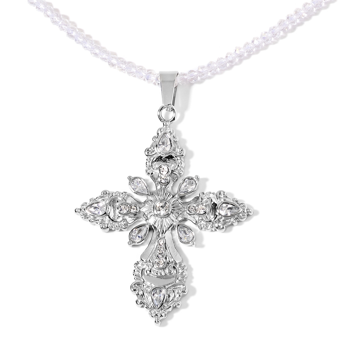 precious lf to simulated zoom lafonn plated hover diamond platinum classic p necklace
