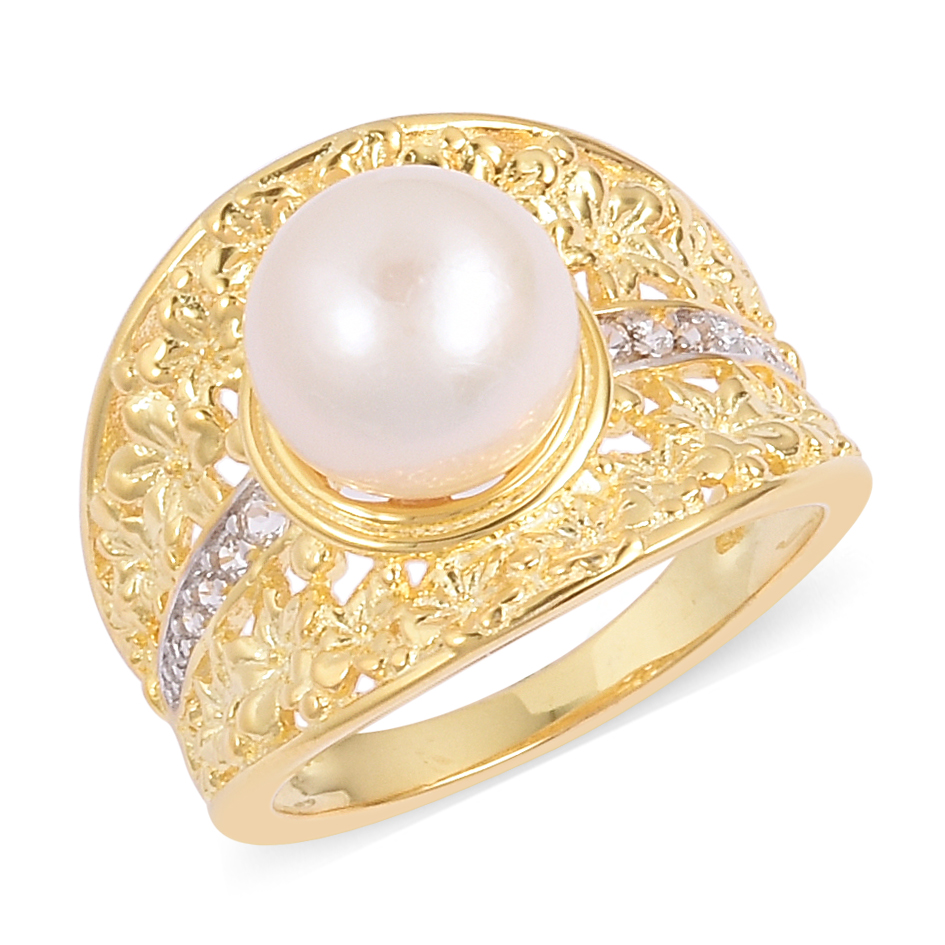 Edison Pearl 10 105 Mm Natural White Zircon 14k Yg Over Sterling Yellow