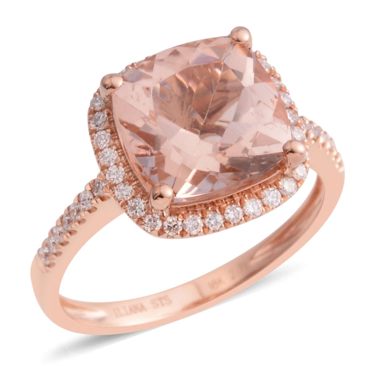New Rose Gold 3 Cttw Cushion Morganite Fashion Ring for Women | eBay