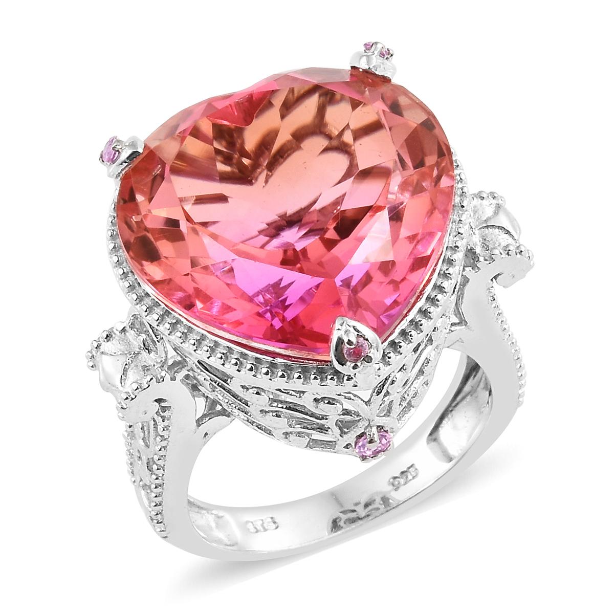 Arizona Sunset Quartz, Madagascar Pink Sapphire Platinum Over ...