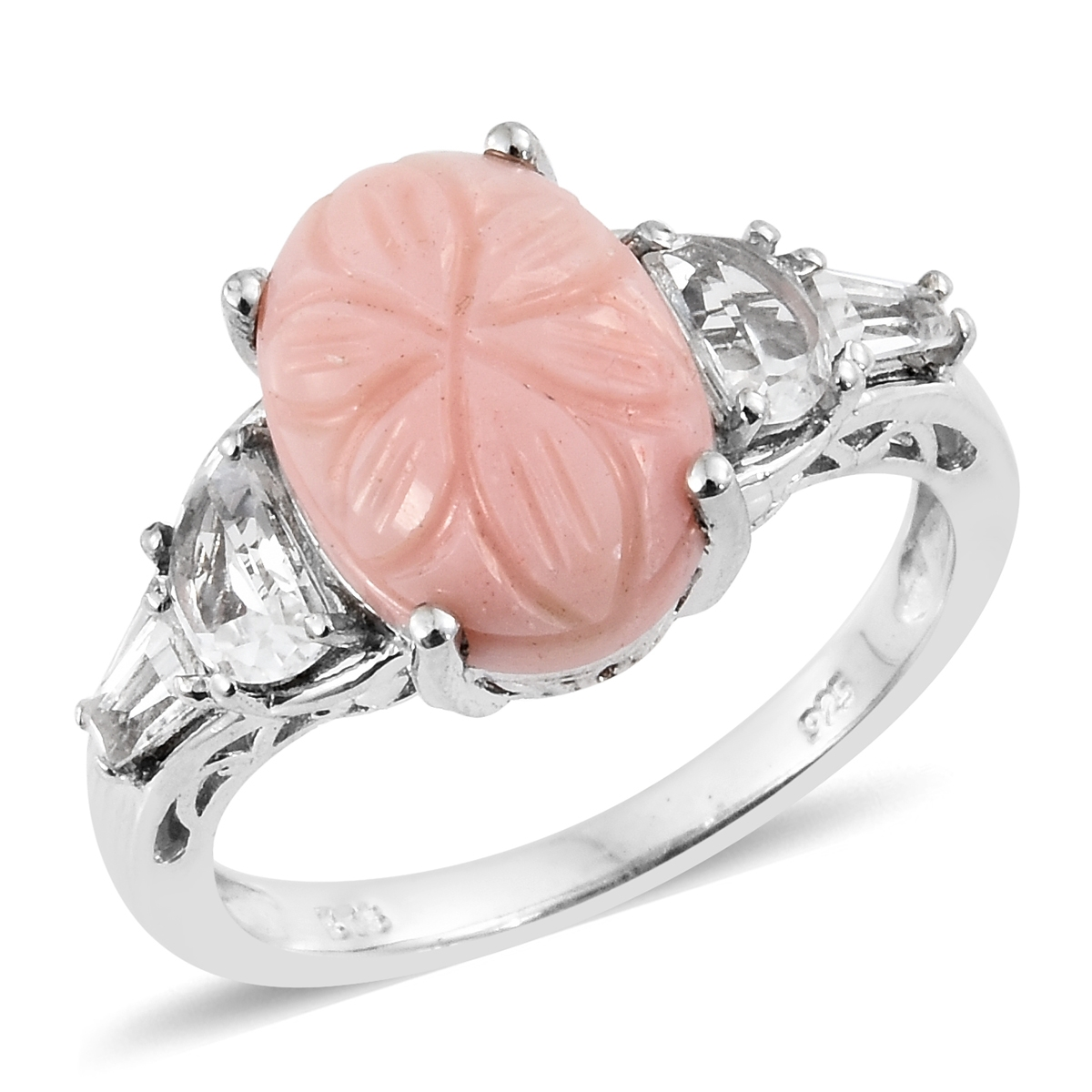Oregon Peach Opal Carved Floral, White Topaz Platinum Over Sterling ...