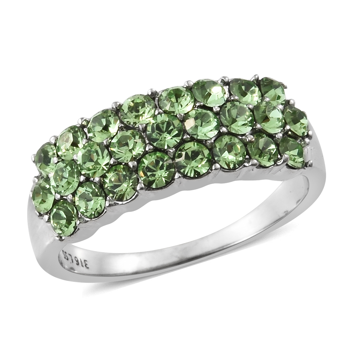 197bc3617e8c Stainless Steel Cluster Ring (Size 5.0) Made with SWAROVSKI Peridot Crystal