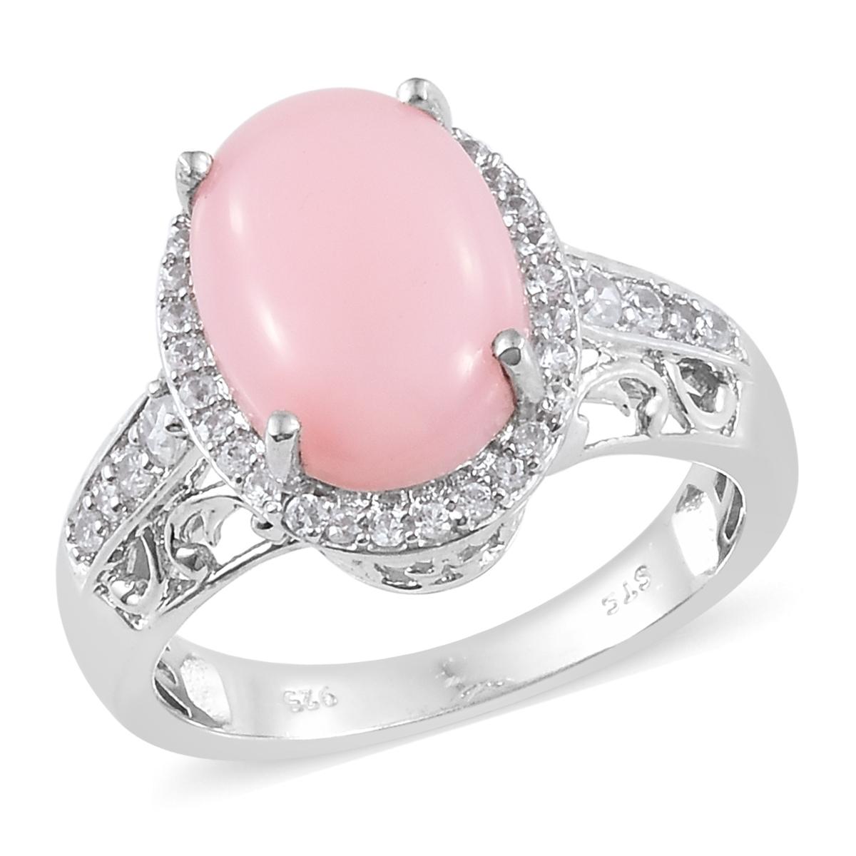Peruvian Pink Opal, Cambodian Zircon Platinum Over Sterling Silver ...