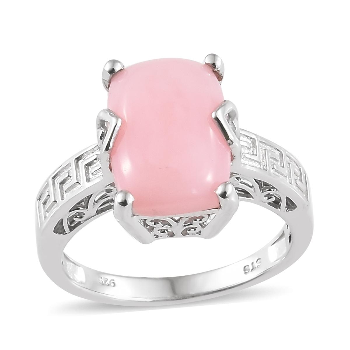 Peruvian Pink Opal Platinum Over Sterling Silver Greek Key Ring ...