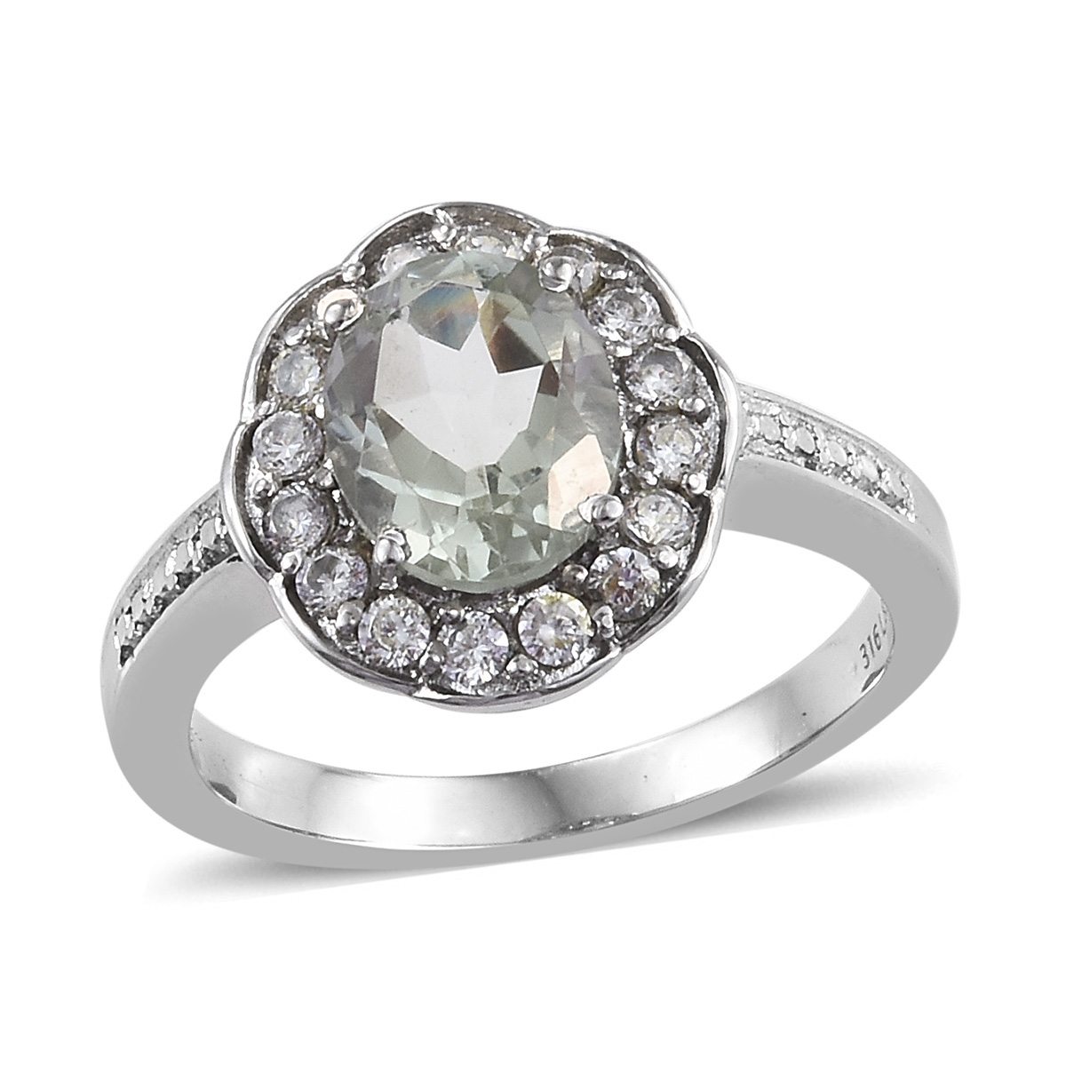Stainless Steel Oval Green Amethyst, Cubic Zirconia Ring Gif
