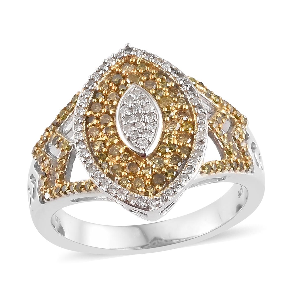 8fc05a547fd Yellow Diamond (IR), Diamond Yellow Rhodium & Platinum Over Sterling Silver  Ring (Size 7.0) TDiaWt 1.00 cts, TGW 1.00 cts.