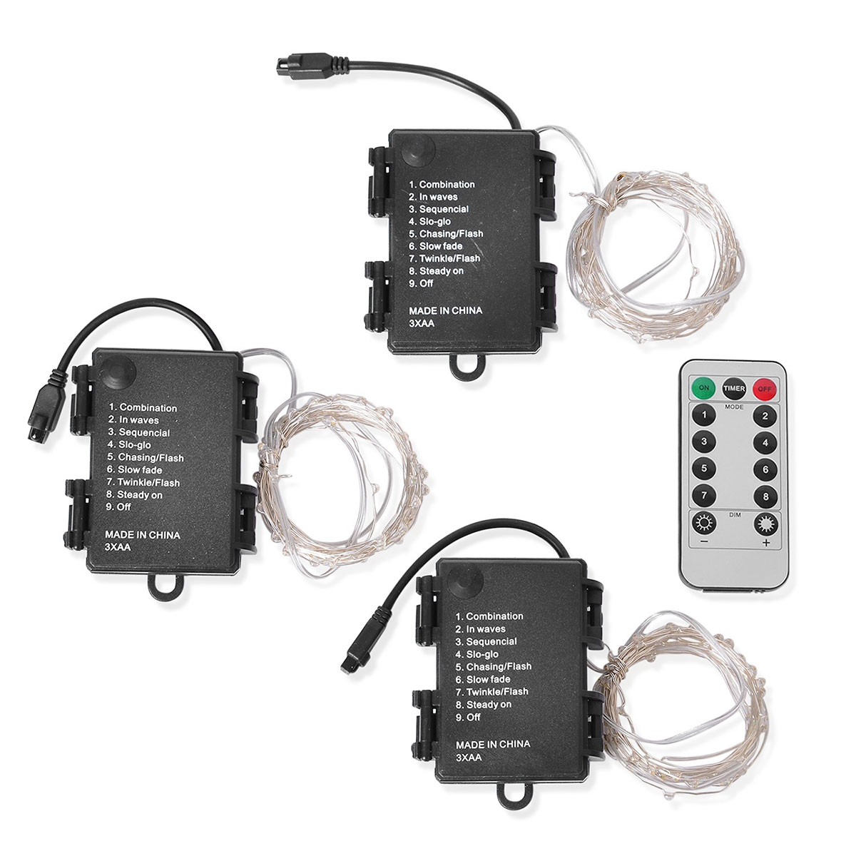 Set Of 3 Red Meter Micro Led String Lights With Wireless Remote 3xaa Battery Not Included Lc