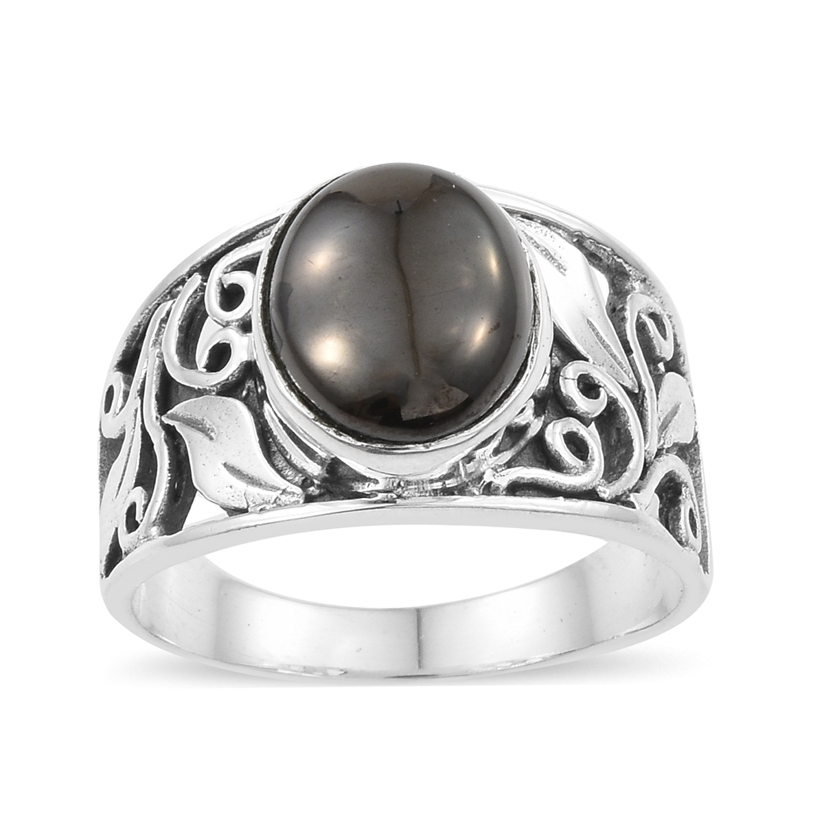 a6291cb51159c Artisan Crafted Shungite Sterling Silver Ring (Size 5.0) TGW 2.96 cts.