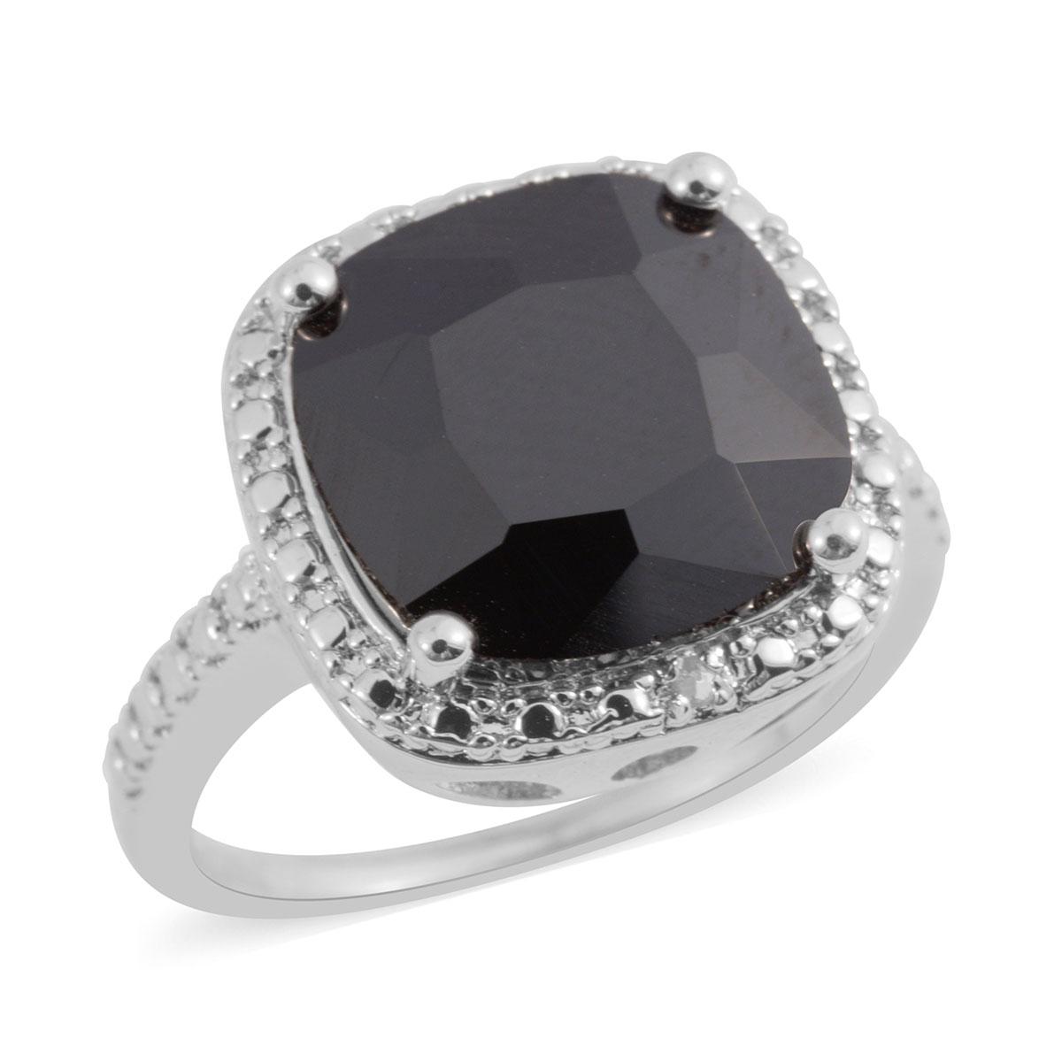 Black Gl Diamond Accent Silvertone