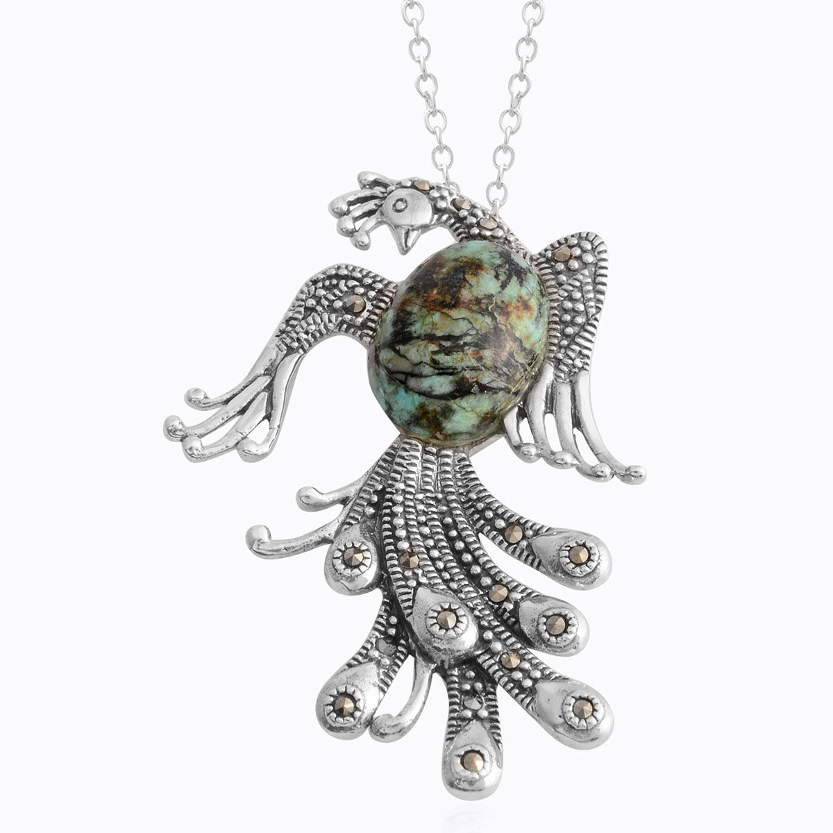 1bb2dd9f5a7d8 Howlite, Swiss Marcasite Sterling Silver Peacock Pendant With Stainless  Steel Chain TGW 5.28 cts.