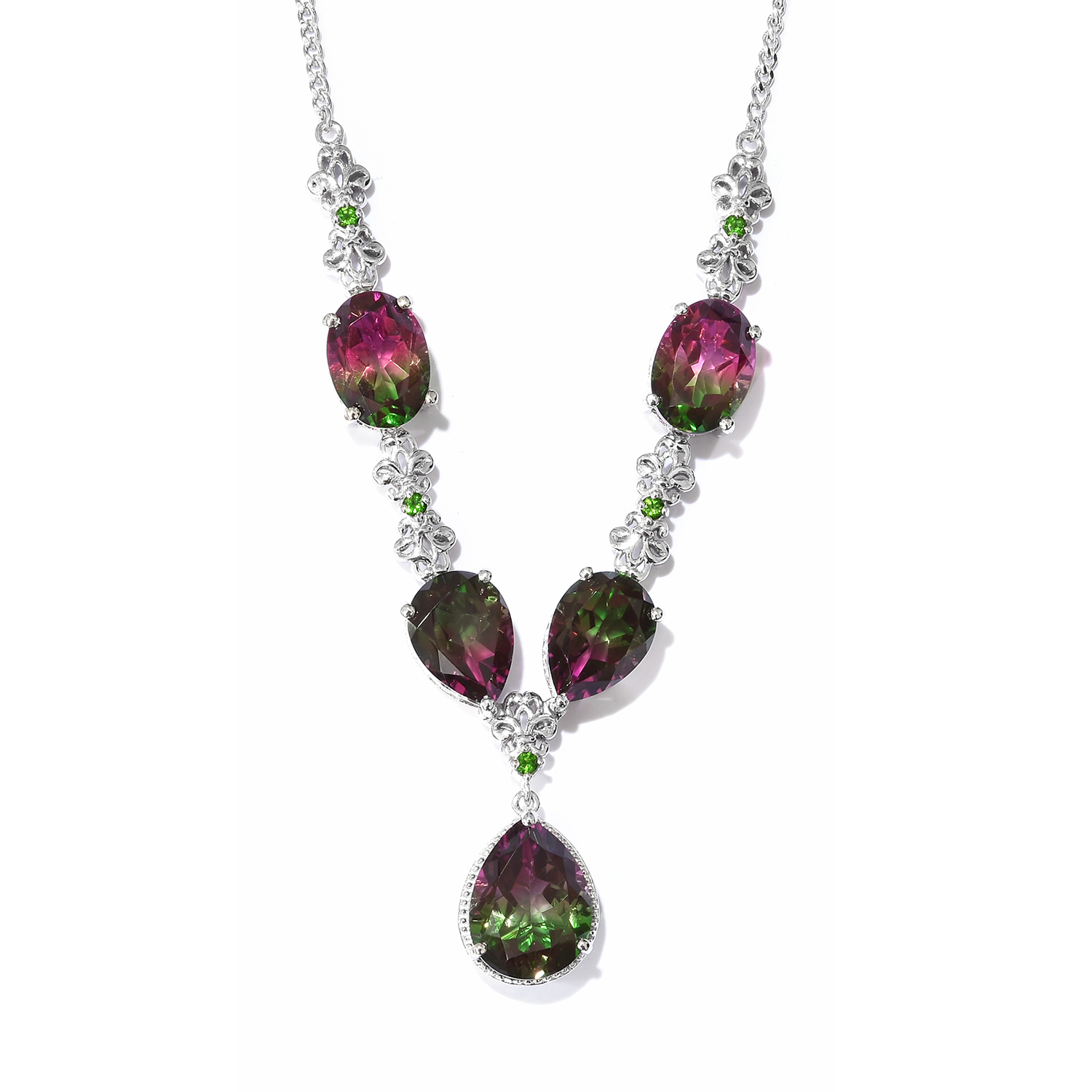 724e98849 Watermelon Quartz, Multi Gemstone Platinum Over Sterling Silver Drop  Necklace (18-20 in) TGW 35.50 cts. | Necklaces | Jewelry | online-store |  Shop LC