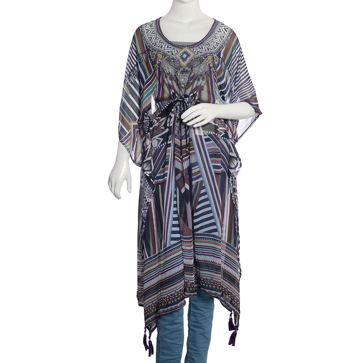 142961e04c Plum and Multi Color 100% Polyester Geometric Digital Printed Embellished  Scoop Neck Sheer Kaftan with Drawstring and Tassels (One Size)