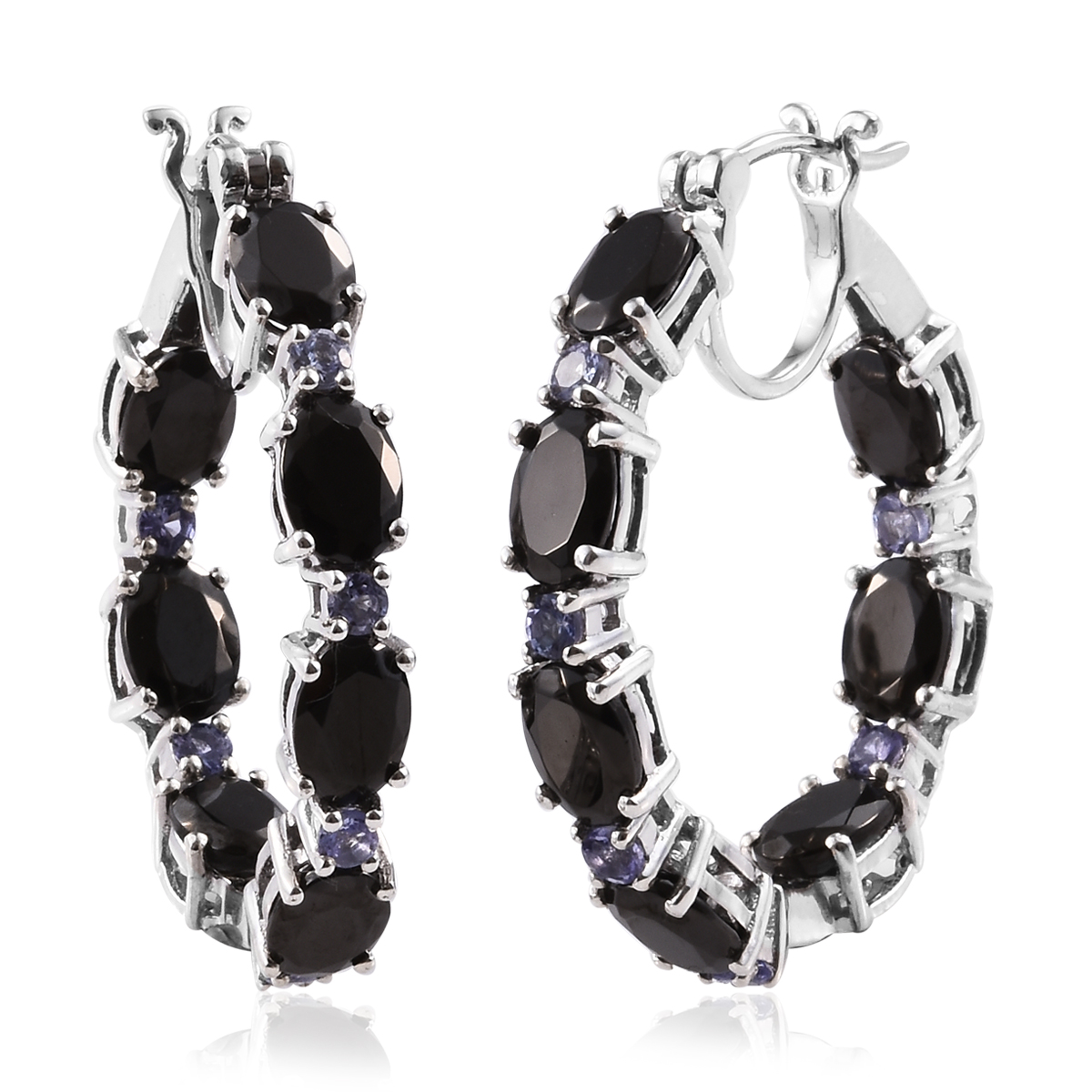 1df8ce761aeda Shungite, Tanzanite Platinum Over Sterling Silver Inside Out Hoop Earrings  7.77 ctw