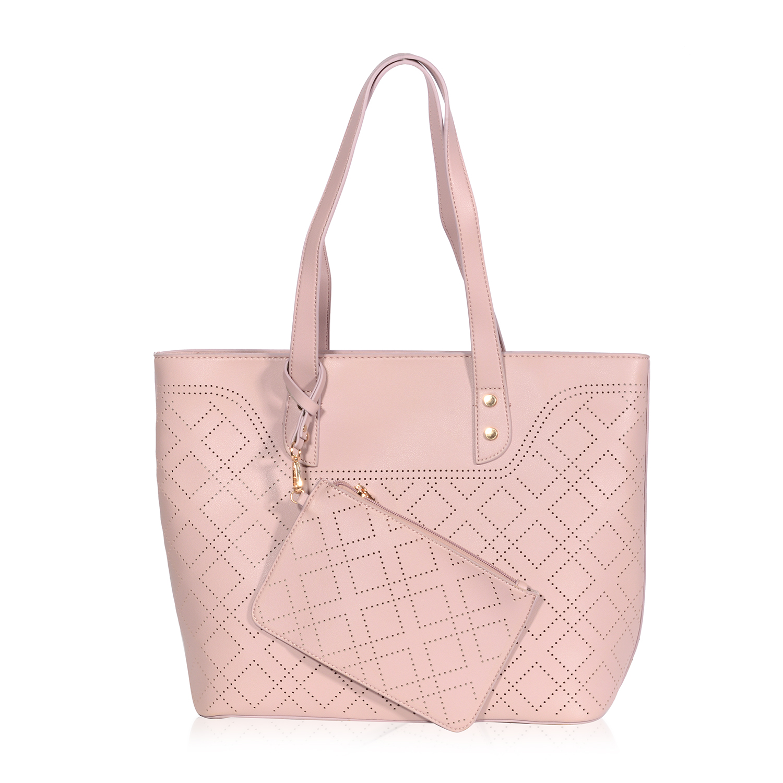 3f0209da52d8 Mauve Quilted Laser Cut Vegan Leather Tote Bag With Detachable