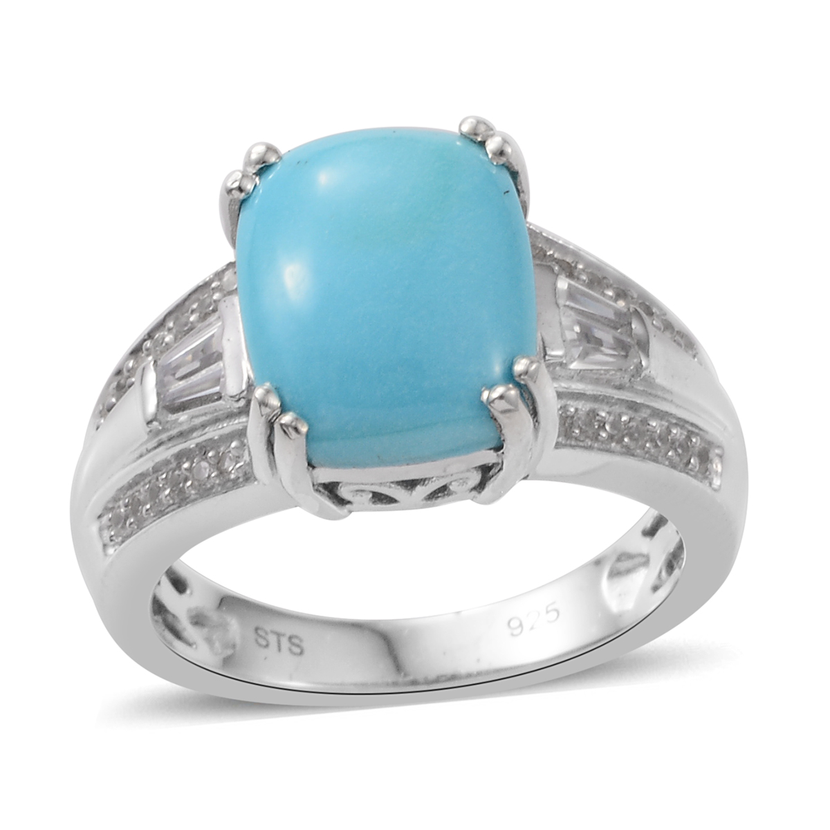 4b60bfe0dae96e Details about Promise Ring Silver Platinum Plated Sleeping Beauty Turquoise  Zircon Size 10