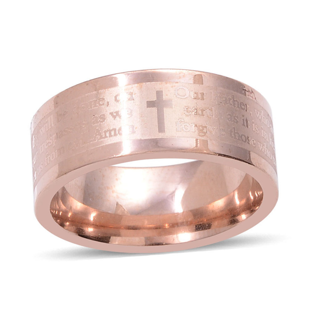 Set of 3 ION Plated YG, RG and Stainless Steel Lords Prayer Band ...