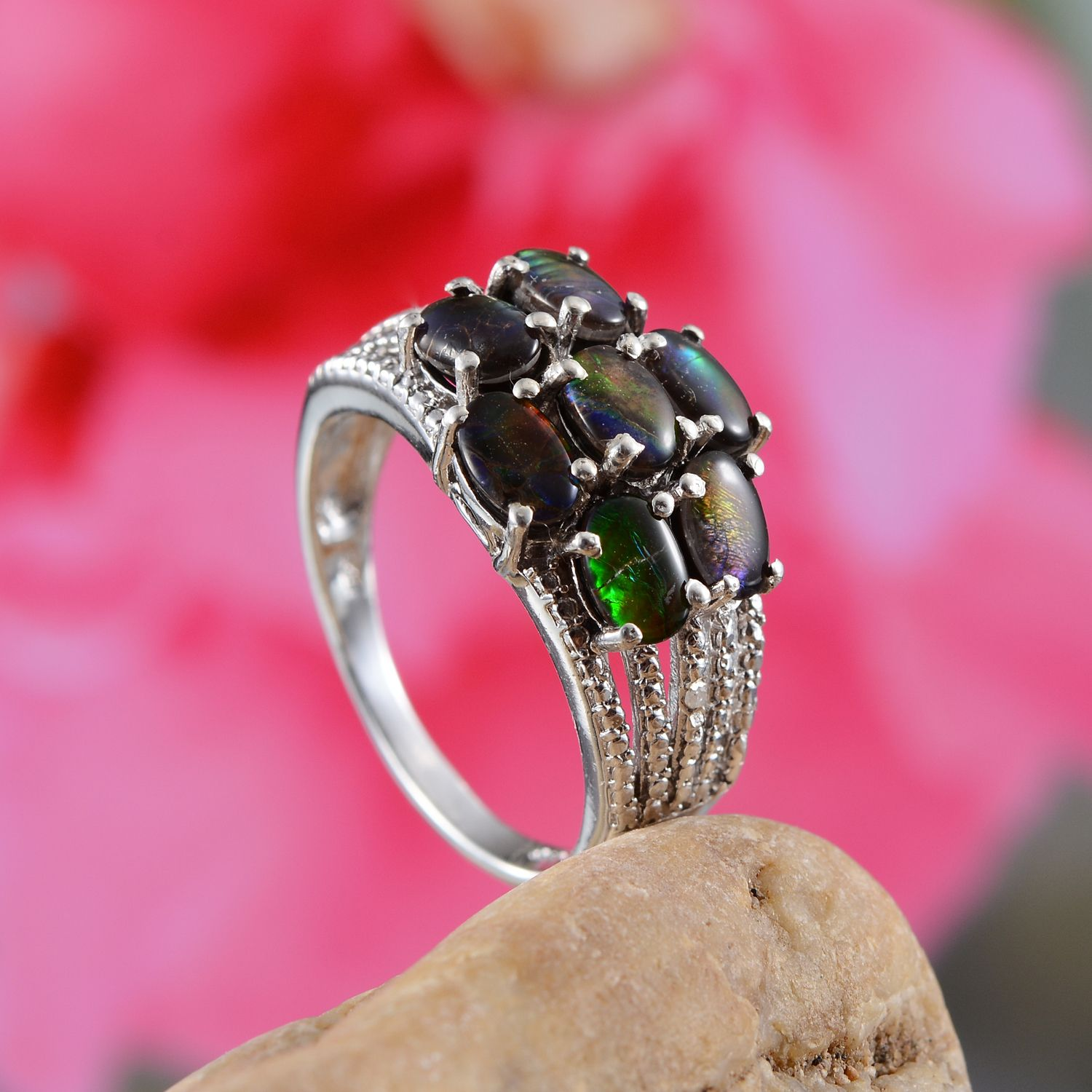 Canadian Ammolite, Diamond Platinum Over Sterling Silver Ring (Size ...