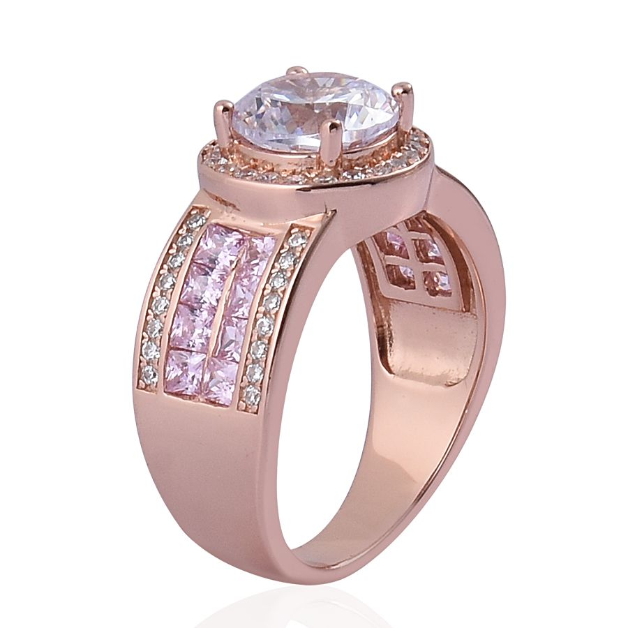 ELANZA Simulated White Diamond, Simulated Pink Diamond Ring in 14K ...