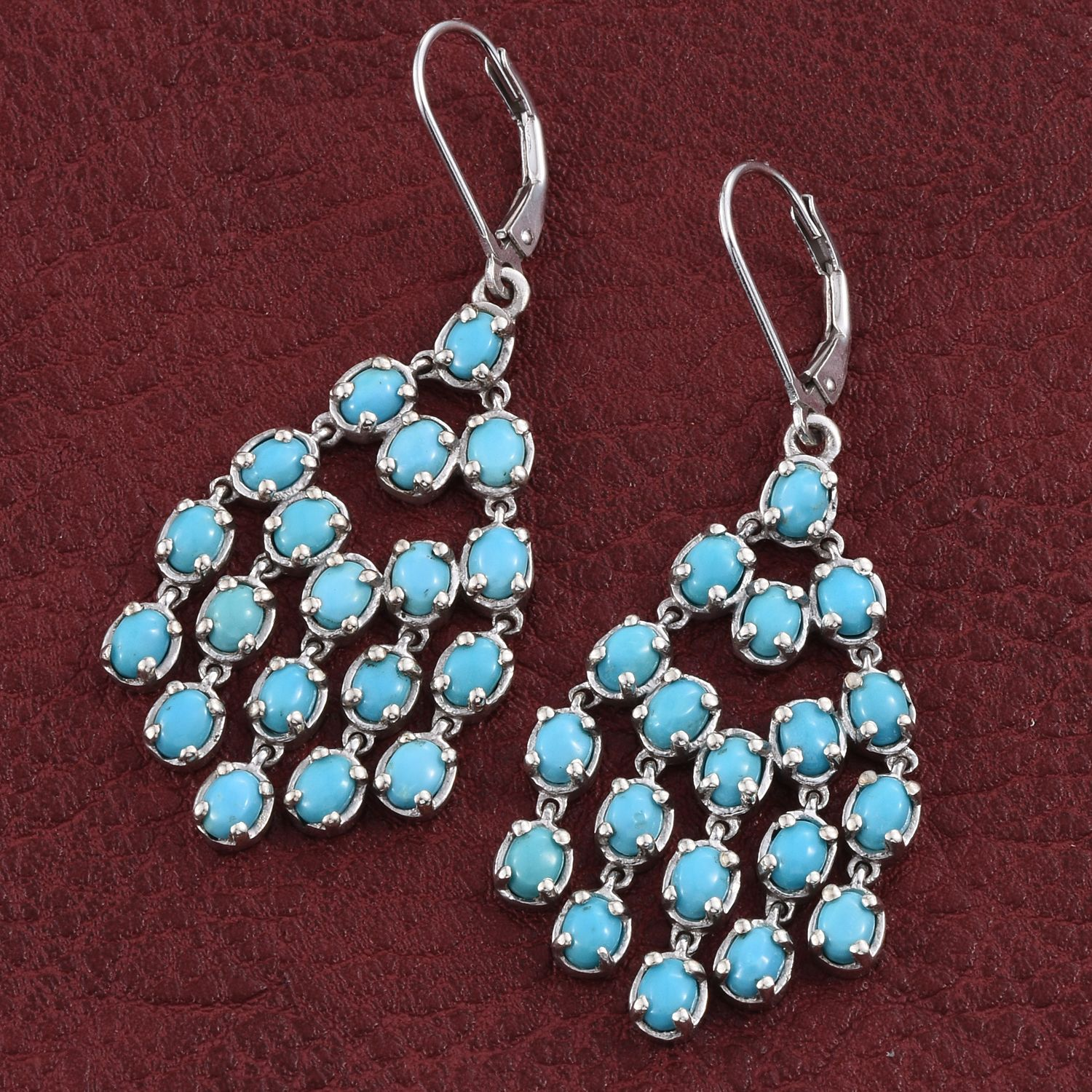 Arizona Sleeping Beauty Turquoise Platinum Over Sterling Silver Lever Back Chandelier Earrings Tgw 6 850 Cts