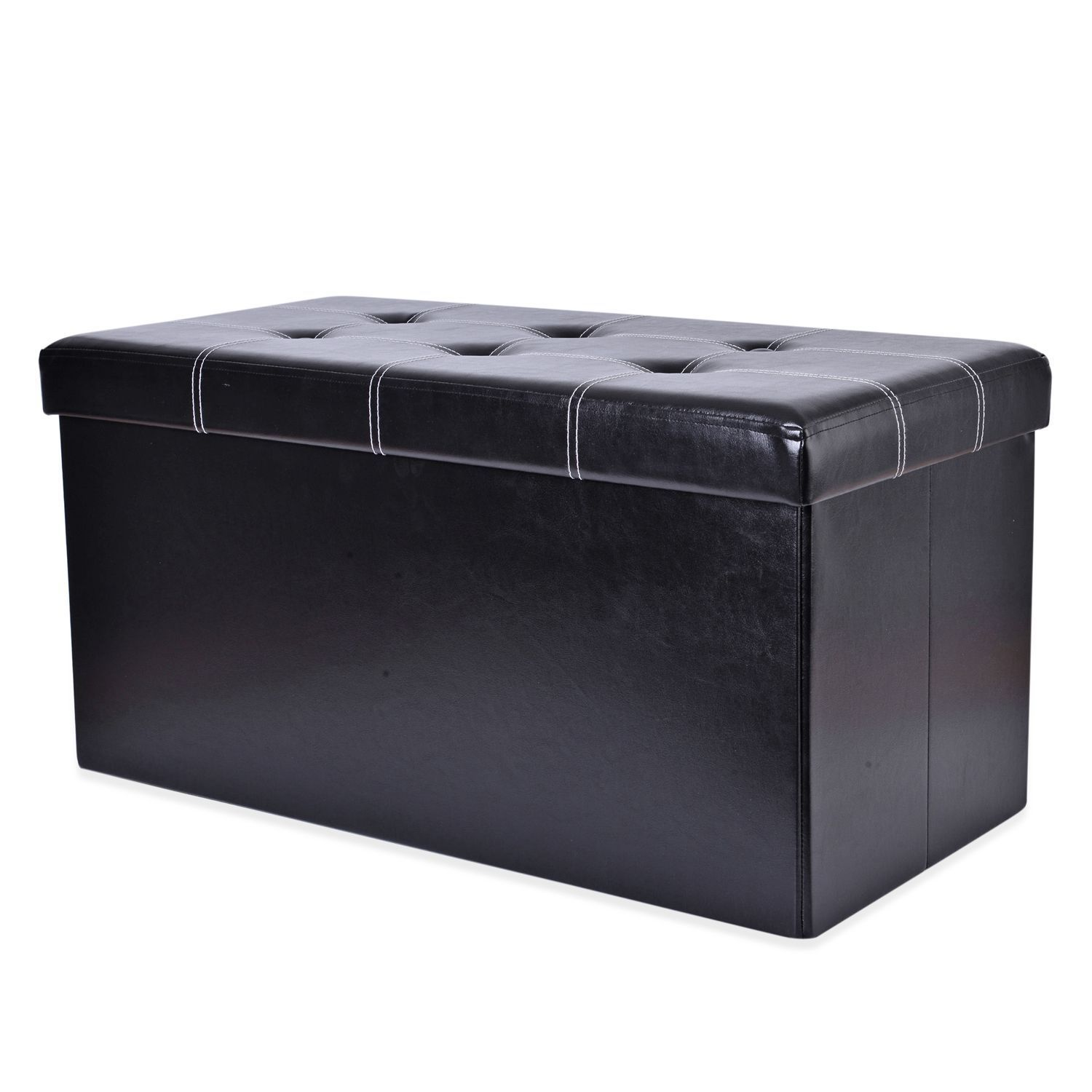 Doorbuster Black Faux Leather Collapsible Storage Bench